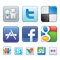Social bookmarks vector icons